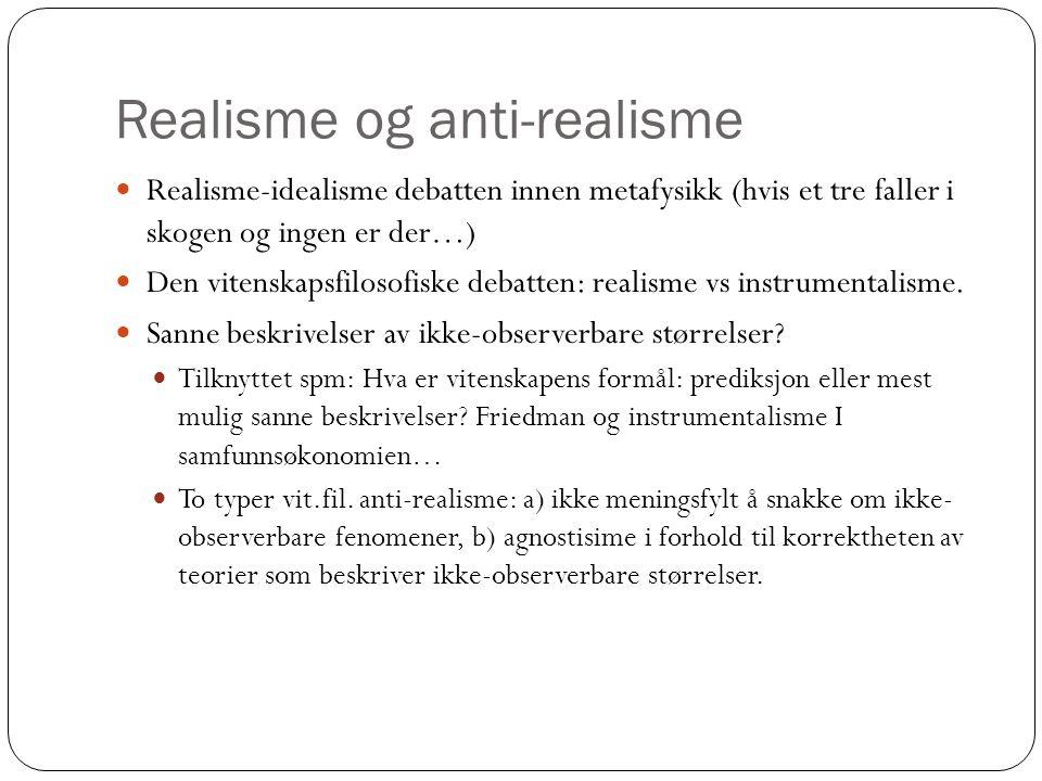 Realisme og anti-realisme Realisme-idealisme debatten innen metafysikk (hvis et tre faller i skogen og ingen er der…) Den vitenskapsfilosofiske debatt