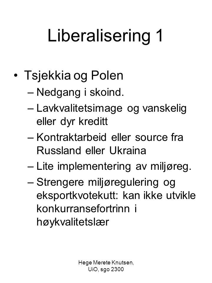 Hege Merete Knutsen, UiO, sgo 2300 Liberalisering 1 Tsjekkia og Polen –Nedgang i skoind. –Lavkvalitetsimage og vanskelig eller dyr kreditt –Kontraktar