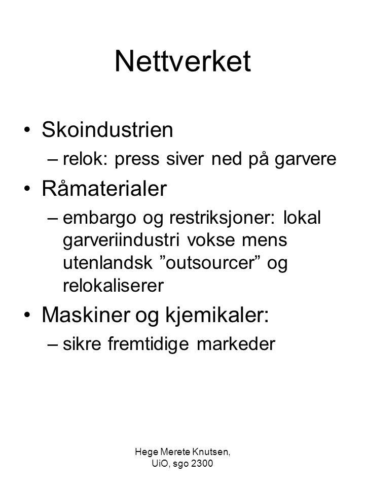 Hege Merete Knutsen, UiO, sgo 2300 Nettverket Skoindustrien –relok: press siver ned på garvere Råmaterialer –embargo og restriksjoner: lokal garveriin