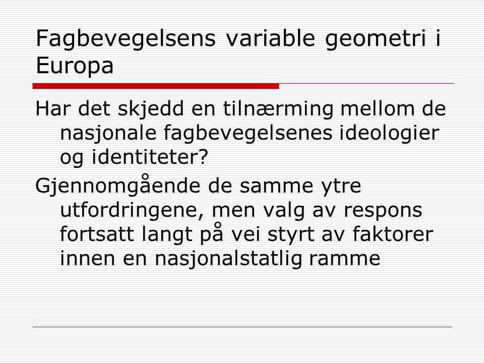 Fagbevegelsens variable geometri i Europa Har det skjedd en tilnærming mellom de nasjonale fagbevegelsenes ideologier og identiteter.
