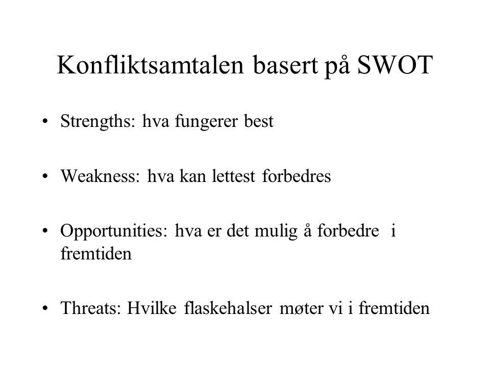 Konfliktsamtalen basert på SWOT Strengths: hva fungerer best Weakness: hva kan lettest forbedres Opportunities: hva er det mulig å forbedre i fremtiden Threats: Hvilke flaskehalser møter vi i fremtiden
