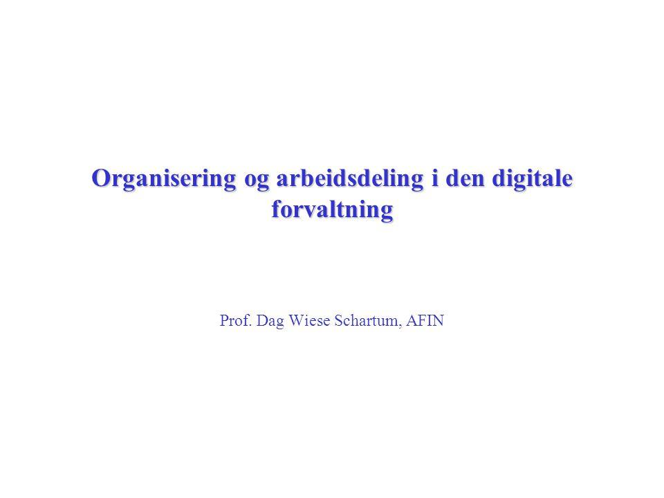 Organisering og arbeidsdeling i den digitale forvaltning Prof. Dag Wiese Schartum, AFIN