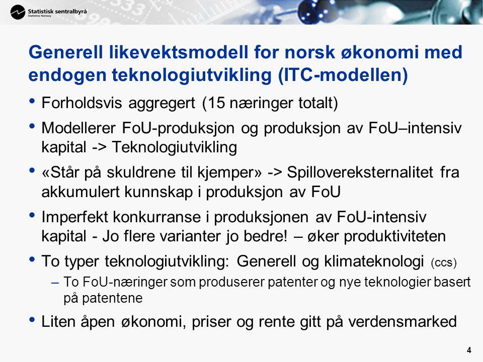 4 Generell likevektsmodell for norsk økonomi med endogen teknologiutvikling (ITC-modellen) Forholdsvis aggregert (15 næringer totalt) Modellerer FoU-produksjon og produksjon av FoU–intensiv kapital -> Teknologiutvikling «Står på skuldrene til kjemper» -> Spillovereksternalitet fra akkumulert kunnskap i produksjon av FoU Imperfekt konkurranse i produksjonen av FoU-intensiv kapital - Jo flere varianter jo bedre.