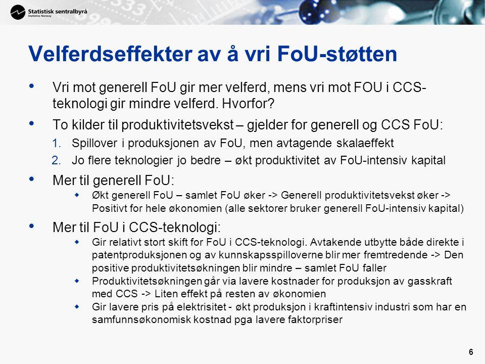6 Velferdseffekter av å vri FoU-støtten Vri mot generell FoU gir mer velferd, mens vri mot FOU i CCS- teknologi gir mindre velferd.