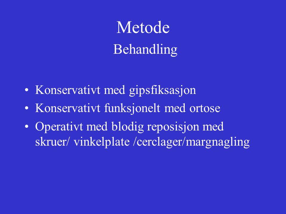 Metode Behandling Konservativt med gipsfiksasjon Konservativt funksjonelt med ortose Operativt med blodig reposisjon med skruer/ vinkelplate /cerclager/margnagling