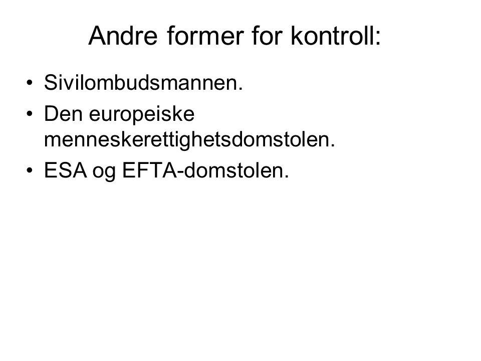 Andre former for kontroll: Sivilombudsmannen. Den europeiske menneskerettighetsdomstolen. ESA og EFTA-domstolen.