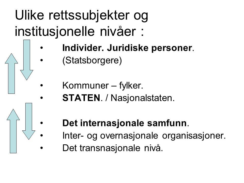 Ulike rettssubjekter og institusjonelle nivåer : Individer. Juridiske personer. (Statsborgere) Kommuner – fylker. STATEN. / Nasjonalstaten. Det intern
