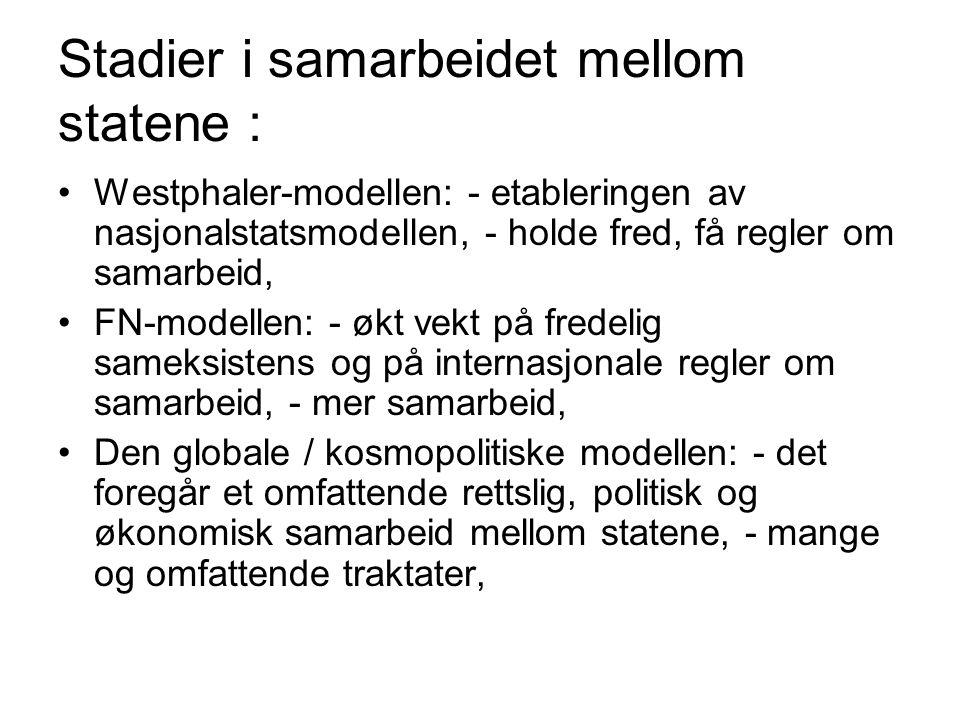 Stadier i samarbeidet mellom statene : Westphaler-modellen: - etableringen av nasjonalstatsmodellen, - holde fred, få regler om samarbeid, FN-modellen