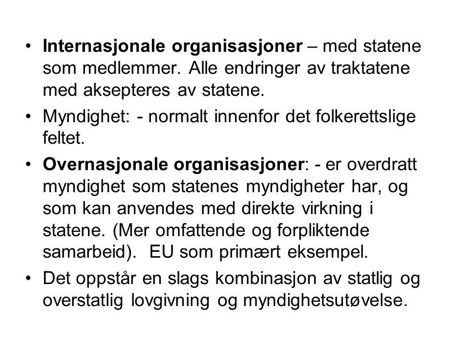Internasjonale organisasjoner – med statene som medlemmer. Alle endringer av traktatene med aksepteres av statene. Myndighet: - normalt innenfor det f