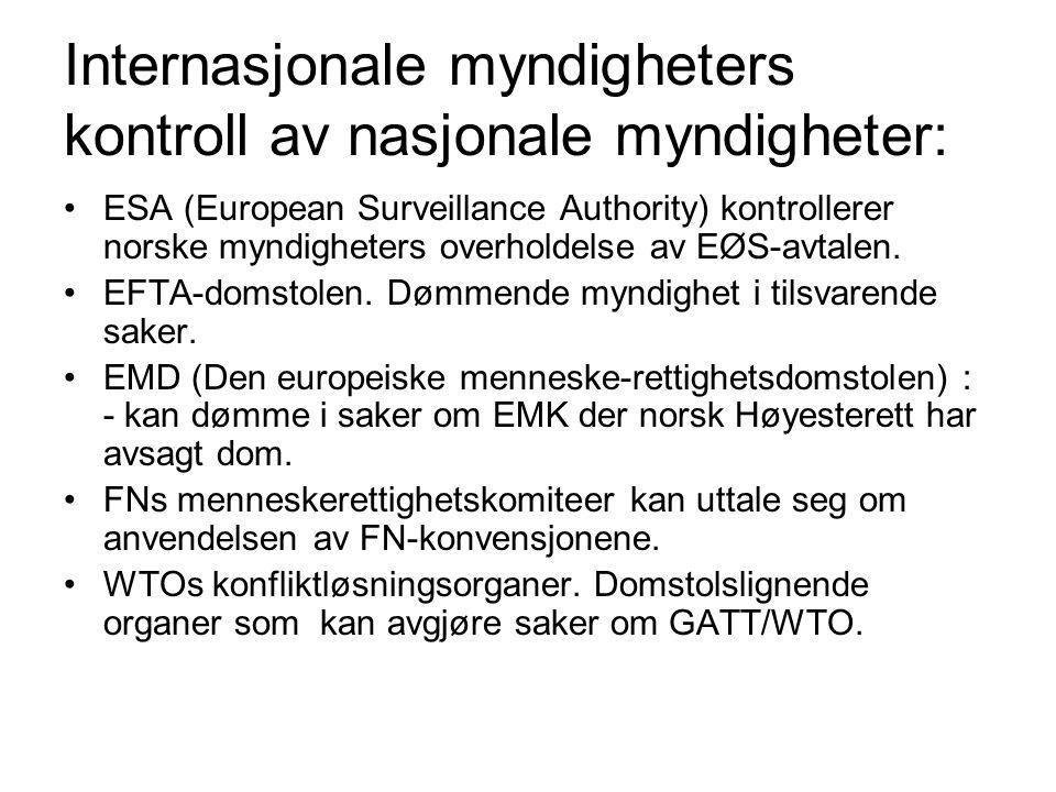 Internasjonale myndigheters kontroll av nasjonale myndigheter: ESA (European Surveillance Authority) kontrollerer norske myndigheters overholdelse av