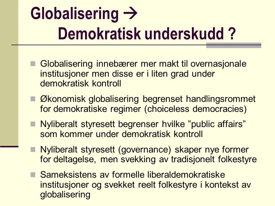 Globalisering  Demokratisk underskudd ? Globalisering innebærer mer makt til overnasjonale institusjoner men disse er i liten grad under demokratisk