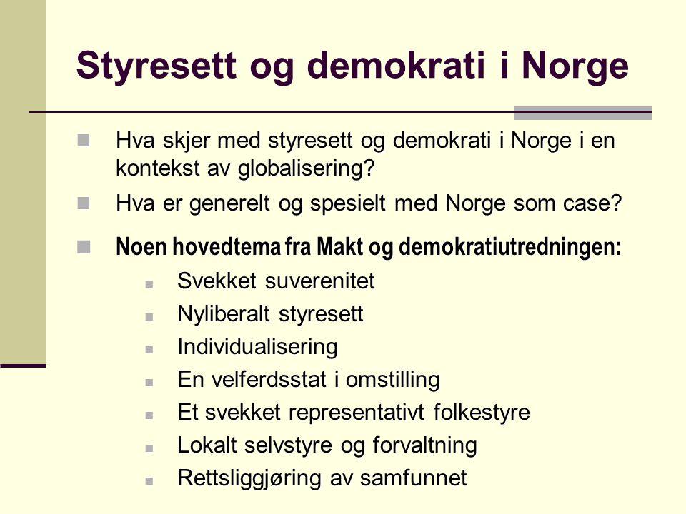 Styresett og demokrati i Norge Hva skjer med styresett og demokrati i Norge i en kontekst av globalisering? Hva skjer med styresett og demokrati i Nor