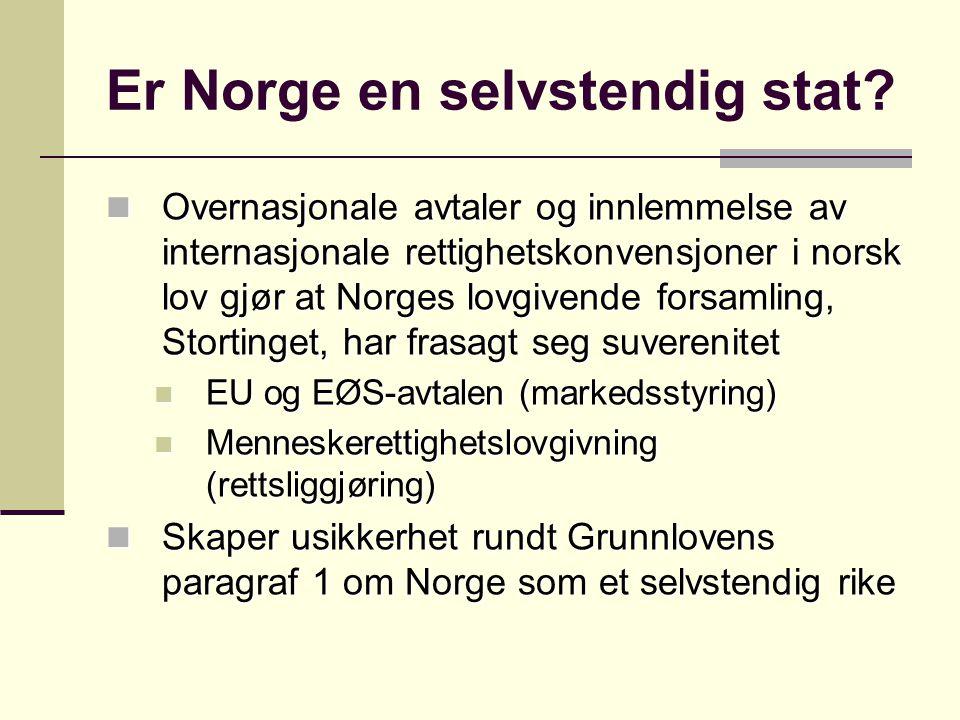 Er Norge en selvstendig stat? Overnasjonale avtaler og innlemmelse av internasjonale rettighetskonvensjoner i norsk lov gjør at Norges lovgivende fors