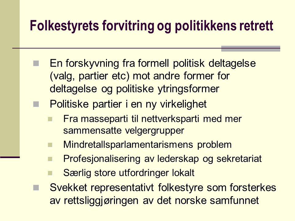 Folkestyrets forvitring og politikkens retrett En forskyvning fra formell politisk deltagelse (valg, partier etc) mot andre former for deltagelse og p