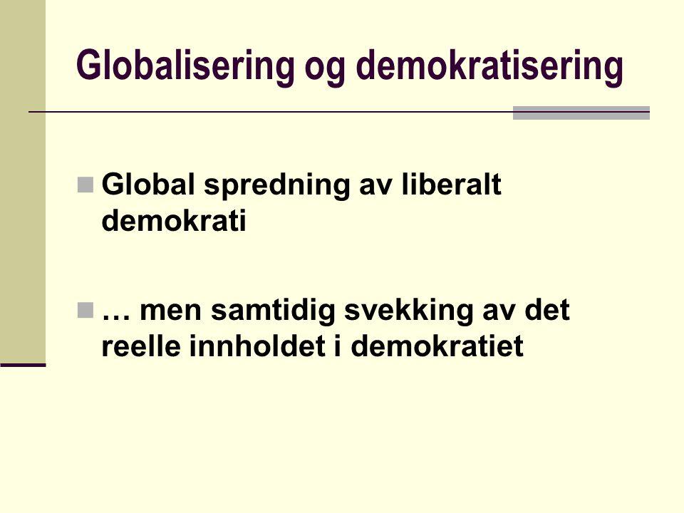 Globalisering og demokratisering Global spredning av liberalt demokrati … men samtidig svekking av det reelle innholdet i demokratiet