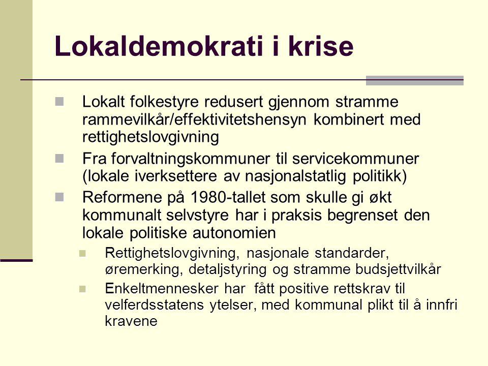 Lokaldemokrati i krise Lokalt folkestyre redusert gjennom stramme rammevilkår/effektivitetshensyn kombinert med rettighetslovgivning Lokalt folkestyre