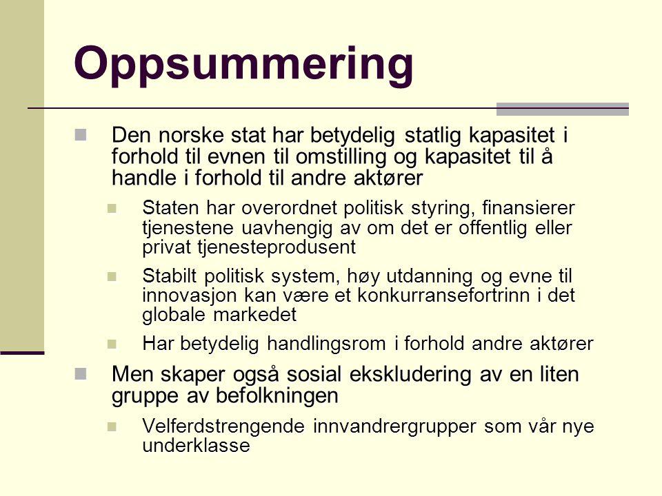 Oppsummering Den norske stat har betydelig statlig kapasitet i forhold til evnen til omstilling og kapasitet til å handle i forhold til andre aktører