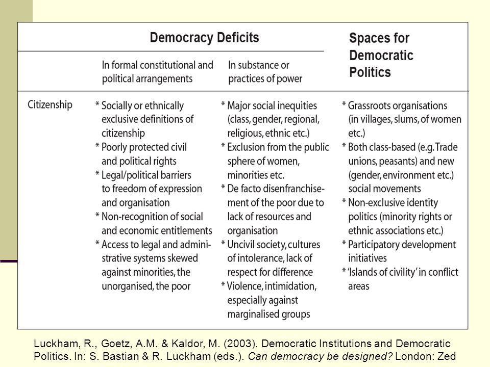 Luckham, R., Goetz, A.M. & Kaldor, M. (2003). Democratic Institutions and Democratic Politics. In: S. Bastian & R. Luckham (eds.). Can democracy be de