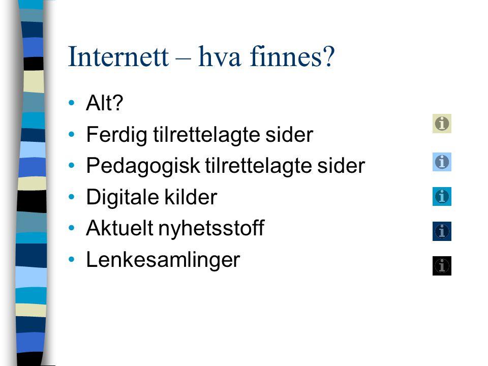 Internett – hva finnes? Alt? Ferdig tilrettelagte sider Pedagogisk tilrettelagte sider Digitale kilder Aktuelt nyhetsstoff Lenkesamlinger