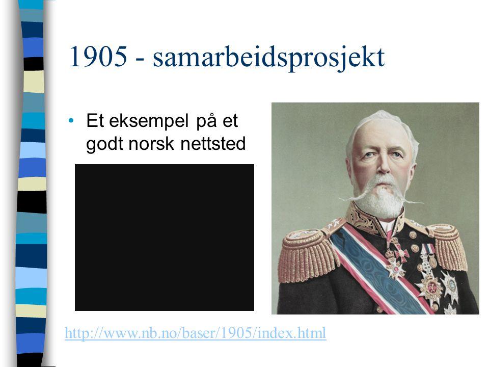 1905 - samarbeidsprosjekt Et eksempel på et godt norsk nettsted http://www.nb.no/baser/1905/index.html