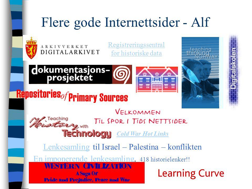 Flere gode Internettsider - Alf En imponerende lenkesamlingEn imponerende lenkesamling. 418 historielenker!! LenkesamlingLenkesamling til Israel – Pal