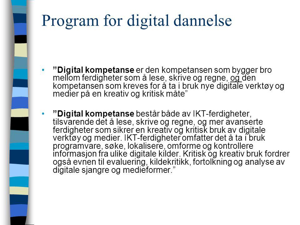 """Program for digital dannelse """"Digital kompetanse er den kompetansen som bygger bro mellom ferdigheter som å lese, skrive og regne, og den kompetansen"""
