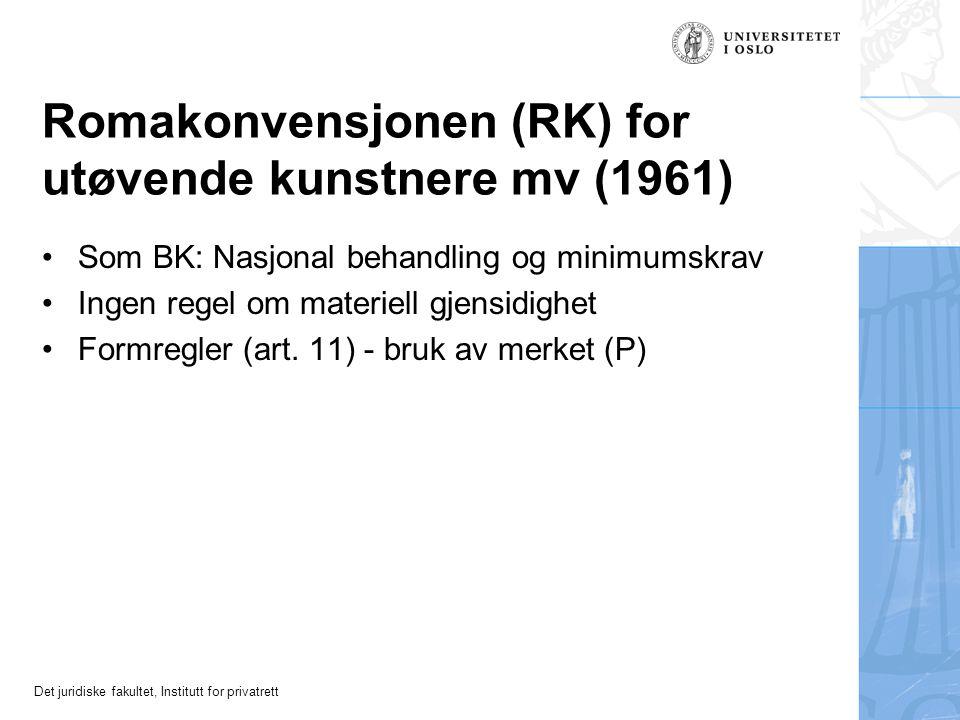 Det juridiske fakultet, Institutt for privatrett Bernkonvensjonen for litterære og kunstneriske verk (1886) Problemet med tilslutning til ulike tekste