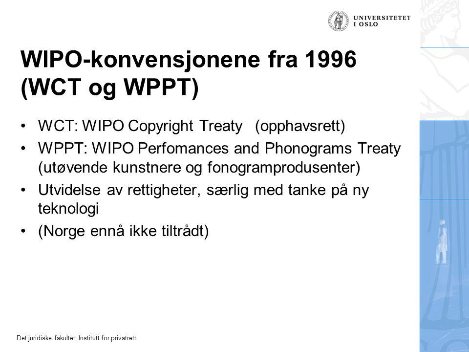 Det juridiske fakultet, Institutt for privatrett Romakonvensjonen (RK) for utøvende kunstnere mv (1961) Som BK: Nasjonal behandling og minimumskrav In