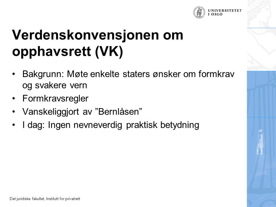 Det juridiske fakultet, Institutt for privatrett WIPO-konvensjonene fra 1996 (WCT og WPPT) WCT: WIPO Copyright Treaty (opphavsrett) WPPT: WIPO Perfomances and Phonograms Treaty (utøvende kunstnere og fonogramprodusenter) Utvidelse av rettigheter, særlig med tanke på ny teknologi (Norge ennå ikke tiltrådt)