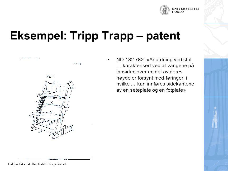 Det juridiske fakultet, Institutt for privatrett Eksempel: Tripp Trapp – patent NO 132 782: «Anordning ved stol … karakterisert ved at vangene på innsiden over en del av deres høyde er forsynt med føringer, i hvilke … kan innføres sidekantene av en seteplate og en fotplate»