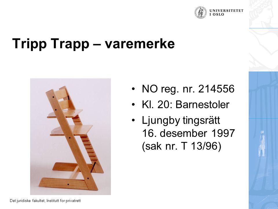 Det juridiske fakultet, Institutt for privatrett Eksempel: Tripp Trapp – patent NO 132 782: «Anordning ved stol … karakterisert ved at vangene på inns