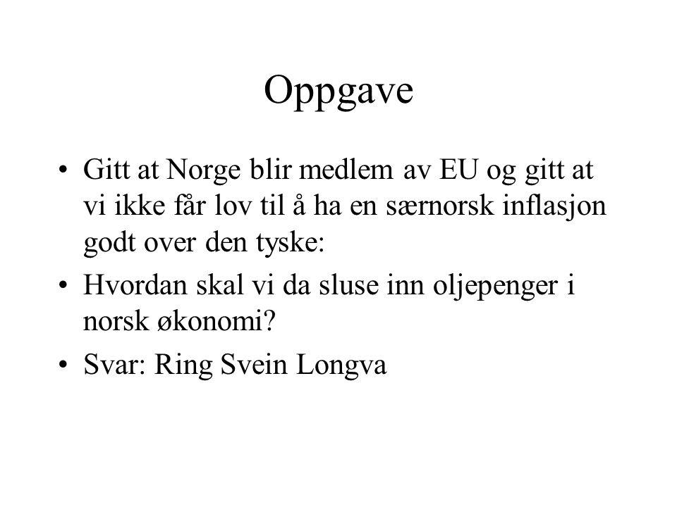 Oppgave Gitt at Norge blir medlem av EU og gitt at vi ikke får lov til å ha en særnorsk inflasjon godt over den tyske: Hvordan skal vi da sluse inn oljepenger i norsk økonomi.
