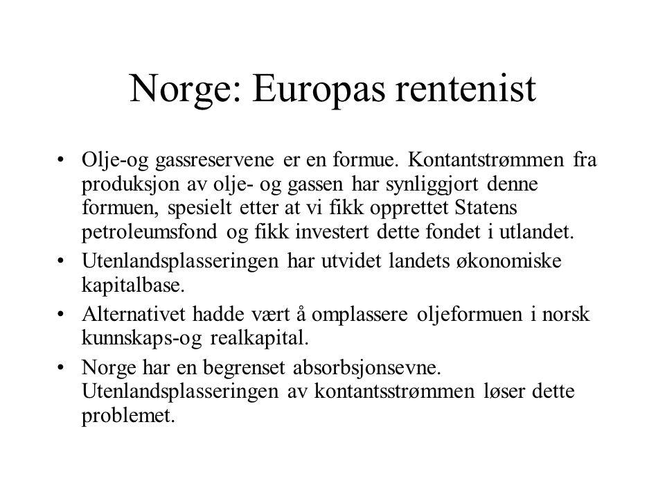 Norge: Europas rentenist Olje-og gassreservene er en formue.