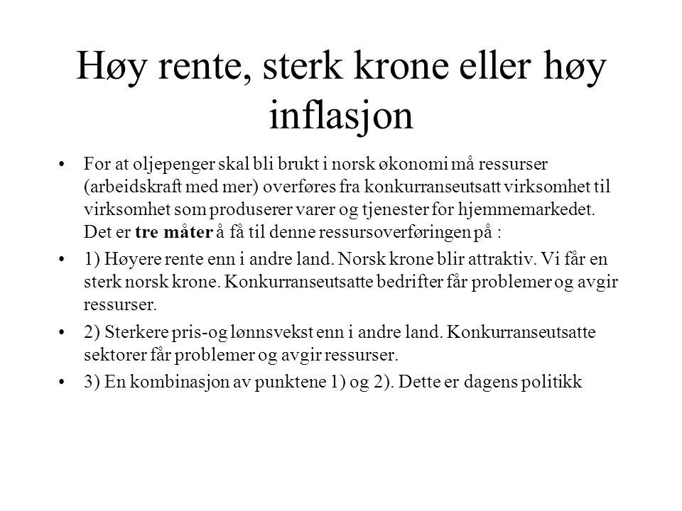 Høy rente, sterk krone eller høy inflasjon For at oljepenger skal bli brukt i norsk økonomi må ressurser (arbeidskraft med mer) overføres fra konkurranseutsatt virksomhet til virksomhet som produserer varer og tjenester for hjemmemarkedet.