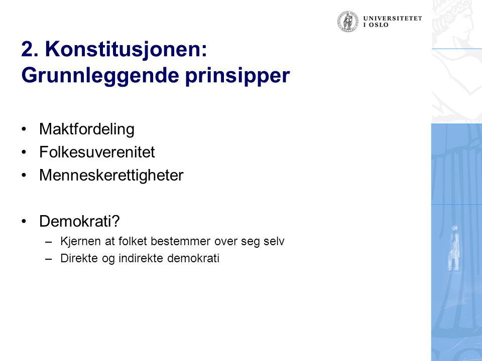2. Konstitusjonen: Grunnleggende prinsipper Maktfordeling Folkesuverenitet Menneskerettigheter Demokrati? –Kjernen at folket bestemmer over seg selv –
