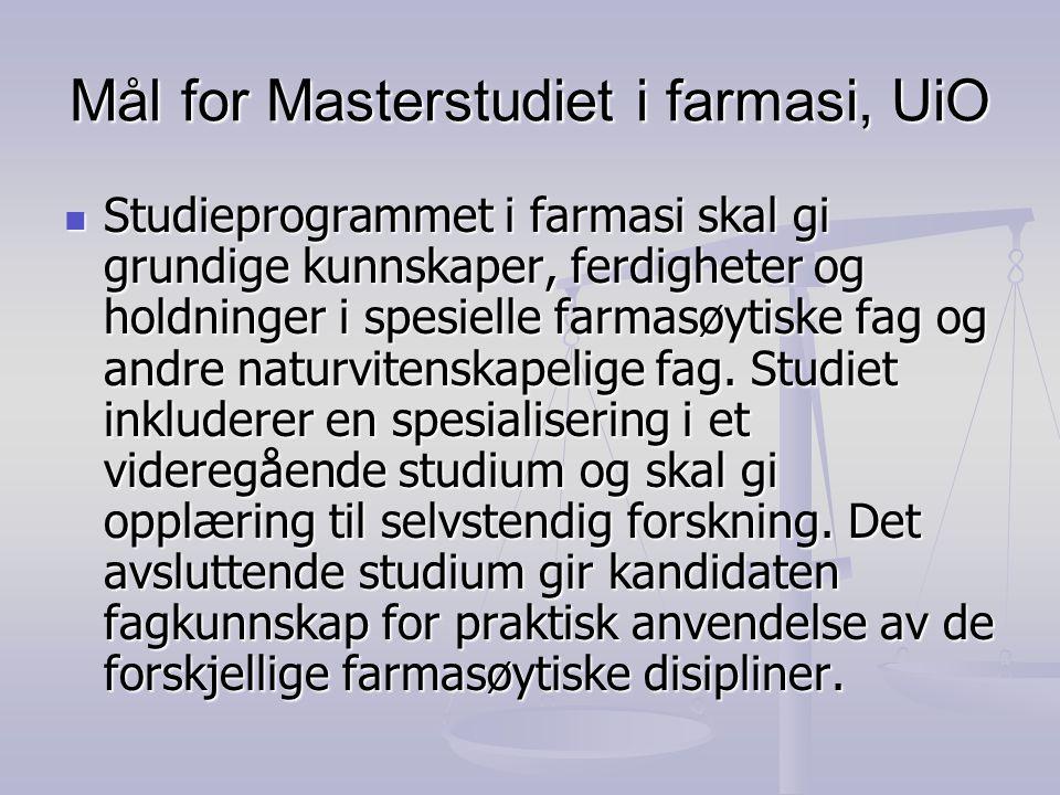Mål for Masterstudiet i farmasi, UiO Studieprogrammet i farmasi skal gi grundige kunnskaper, ferdigheter og holdninger i spesielle farmasøytiske fag og andre naturvitenskapelige fag.