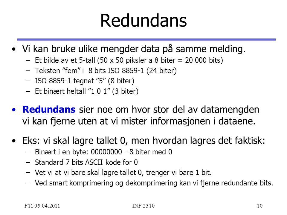 F11 05.04.2011INF 231010 Redundans Vi kan bruke ulike mengder data på samme melding. –Et bilde av et 5-tall (50 x 50 piksler a 8 biter = 20 000 bits)