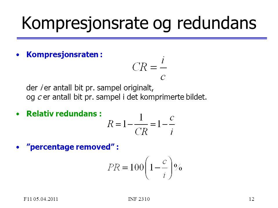 F11 05.04.2011INF 231012 Kompresjonsrate og redundans Kompresjonsraten : der i er antall bit pr. sampel originalt, og c er antall bit pr. sampel i det
