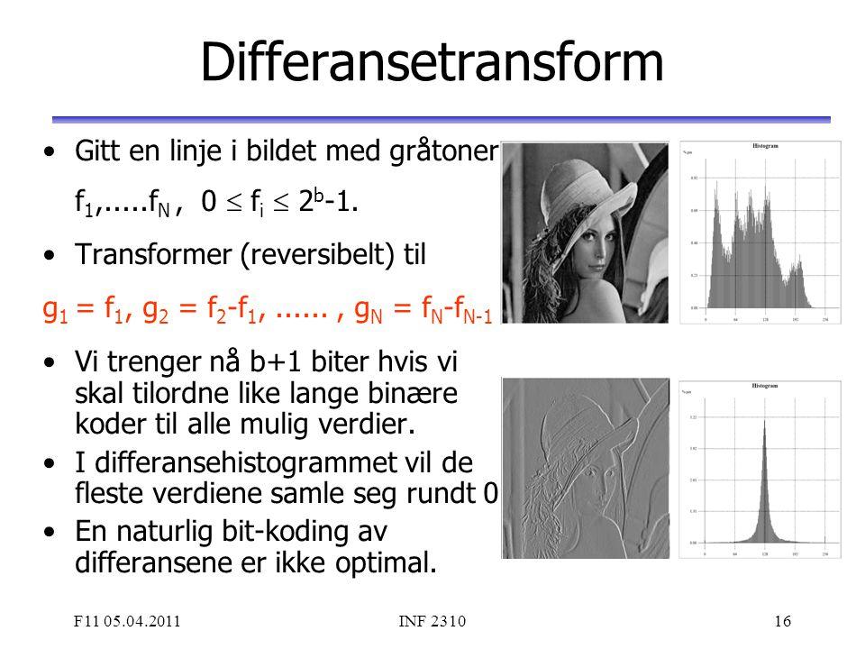 F11 05.04.2011INF 231016 Differansetransform Gitt en linje i bildet med gråtoner f 1,.....f N, 0  f i  2 b -1. Transformer (reversibelt) til g 1 = f