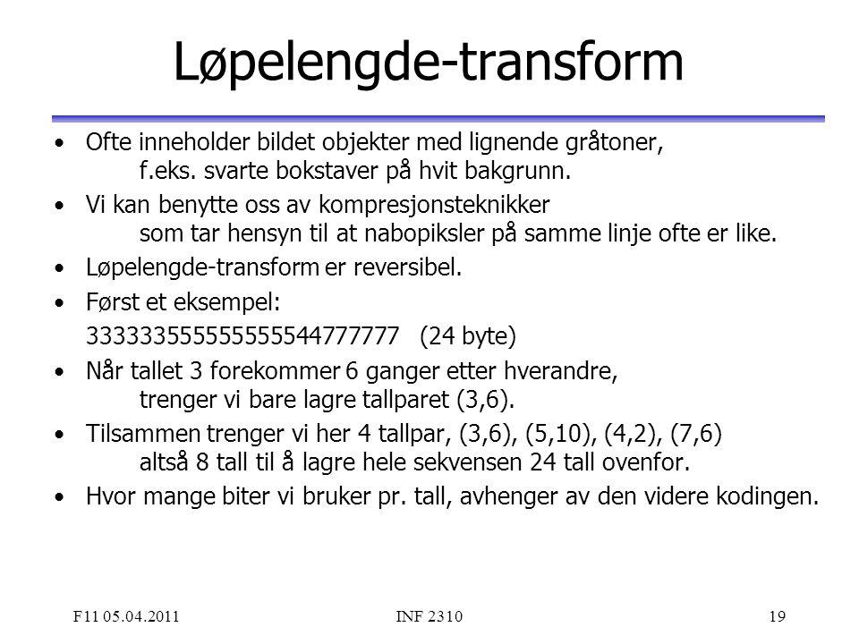 F11 05.04.2011INF 231019 Løpelengde-transform Ofte inneholder bildet objekter med lignende gråtoner, f.eks. svarte bokstaver på hvit bakgrunn. Vi kan