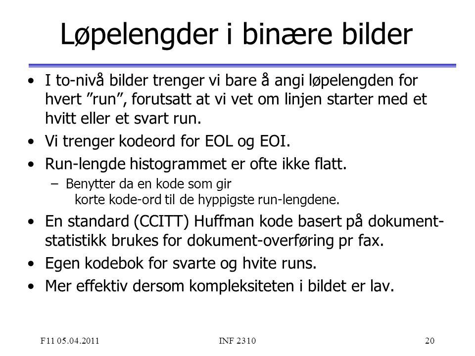 """F11 05.04.2011INF 231020 Løpelengder i binære bilder I to-nivå bilder trenger vi bare å angi løpelengden for hvert """"run"""", forutsatt at vi vet om linje"""