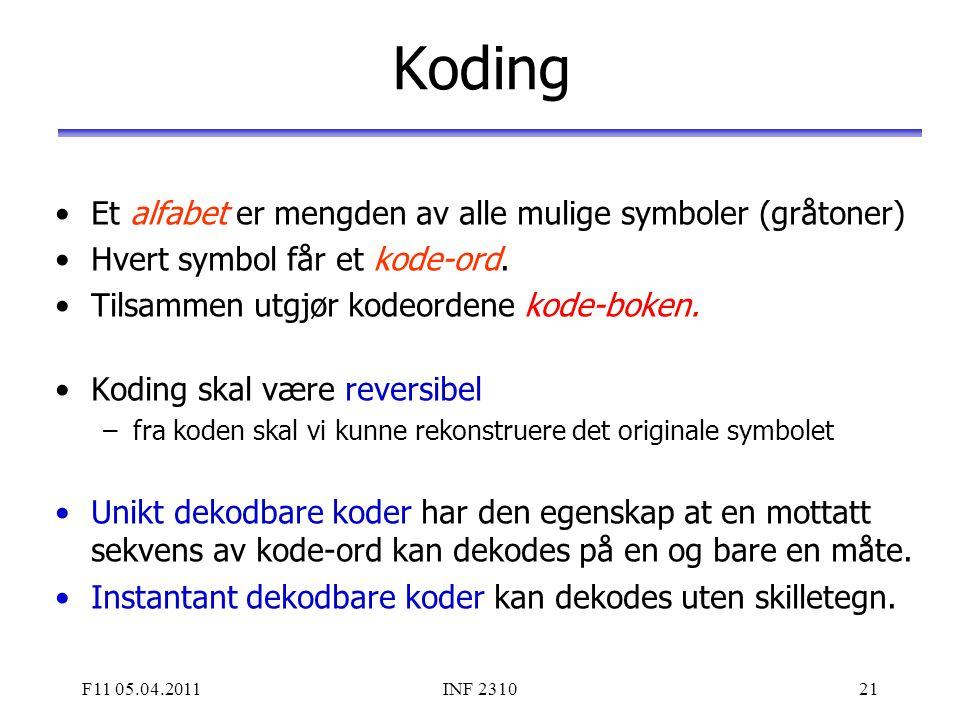 F11 05.04.2011INF 231021 Koding Et alfabet er mengden av alle mulige symboler (gråtoner) Hvert symbol får et kode-ord. Tilsammen utgjør kodeordene kod
