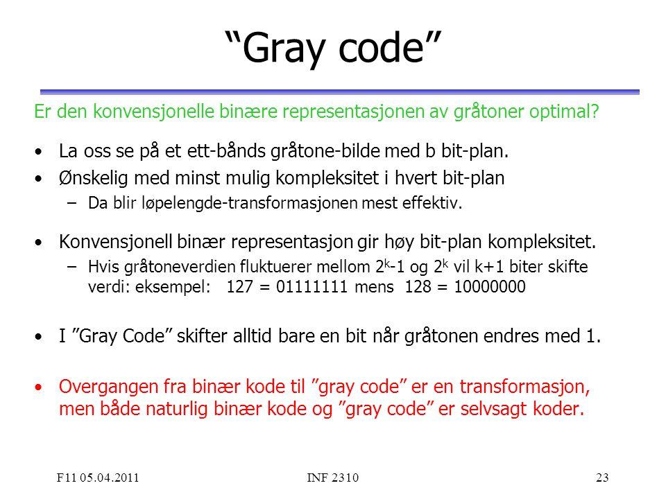 """F11 05.04.2011INF 231023 """"Gray code"""" Er den konvensjonelle binære representasjonen av gråtoner optimal? La oss se på et ett-bånds gråtone-bilde med b"""