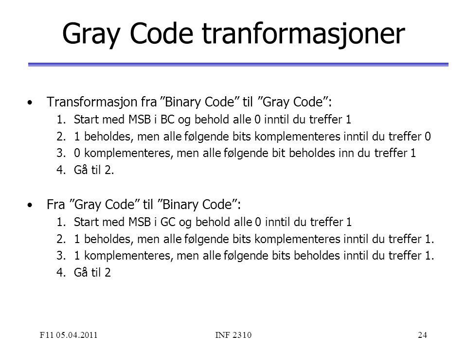 """F11 05.04.2011INF 231024 Gray Code tranformasjoner Transformasjon fra """"Binary Code"""" til """"Gray Code"""": 1.Start med MSB i BC og behold alle 0 inntil du t"""