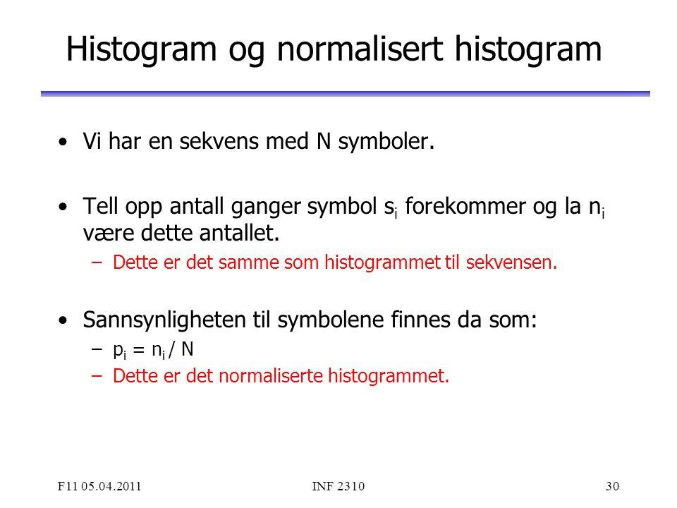 F11 05.04.2011INF 231030 Histogram og normalisert histogram Vi har en sekvens med N symboler. Tell opp antall ganger symbol s i forekommer og la n i v