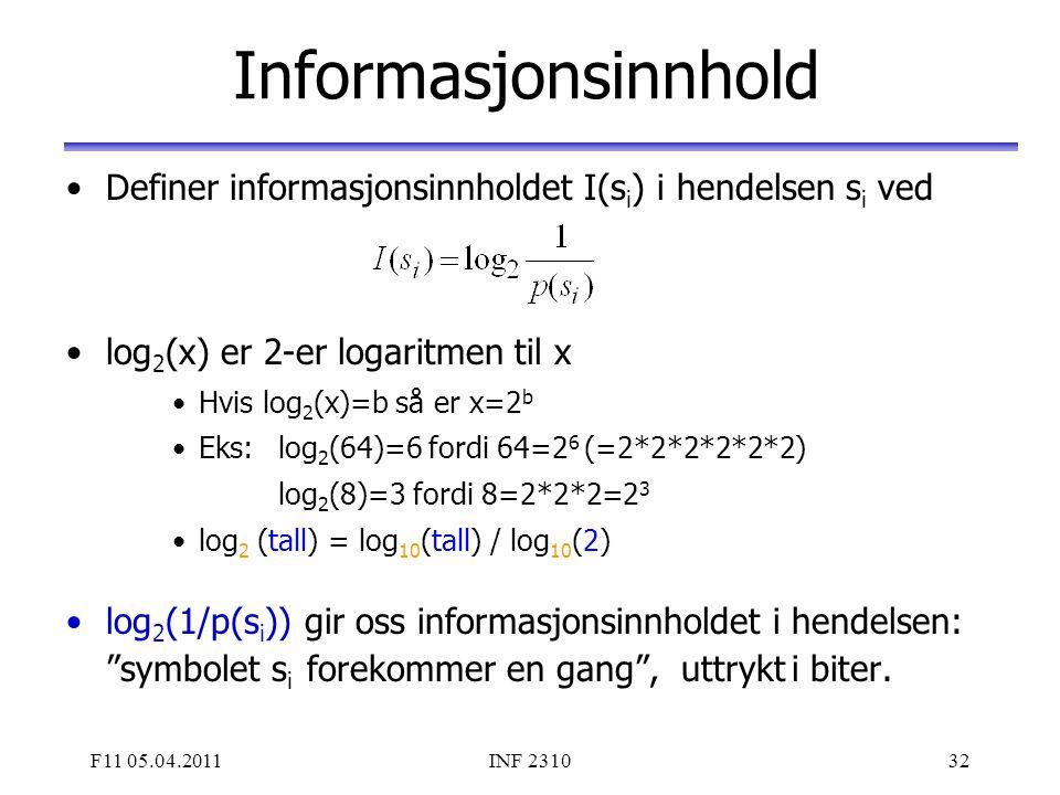 F11 05.04.2011INF 231032 Informasjonsinnhold Definer informasjonsinnholdet I(s i ) i hendelsen s i ved log 2 (x) er 2-er logaritmen til x Hvis log 2 (