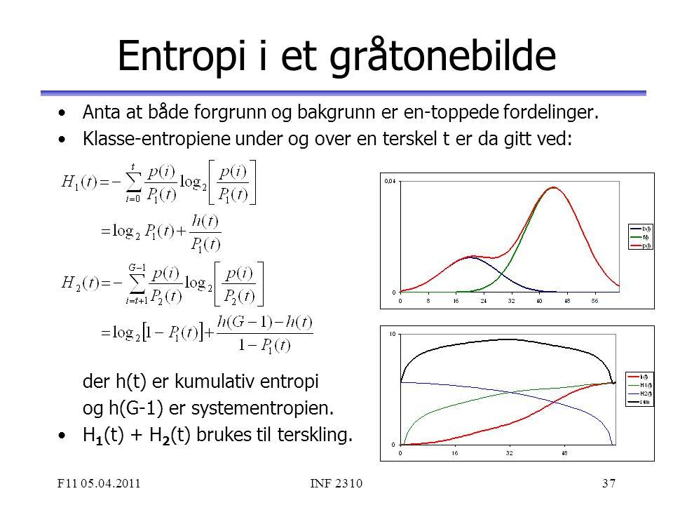 F11 05.04.2011INF 231037 Entropi i et gråtonebilde Anta at både forgrunn og bakgrunn er en-toppede fordelinger. Klasse-entropiene under og over en ter