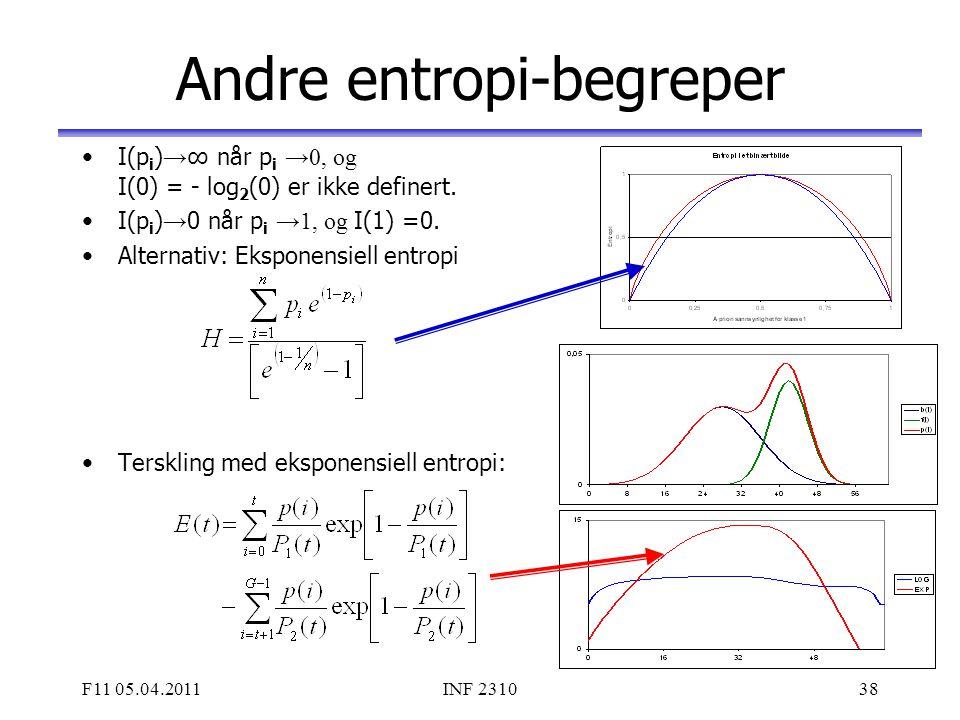 F11 05.04.2011INF 231038 Andre entropi-begreper I(p i ) → ∞ når p i →0, og I(0) = - log 2 (0) er ikke definert. I(p i ) → 0 når p i →1, og I(1) =0. Al