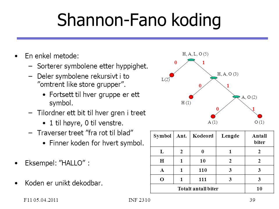 """F11 05.04.2011INF 231039 Shannon-Fano koding En enkel metode: –Sorterer symbolene etter hyppighet. –Deler symbolene rekursivt i to """"omtrent like store"""