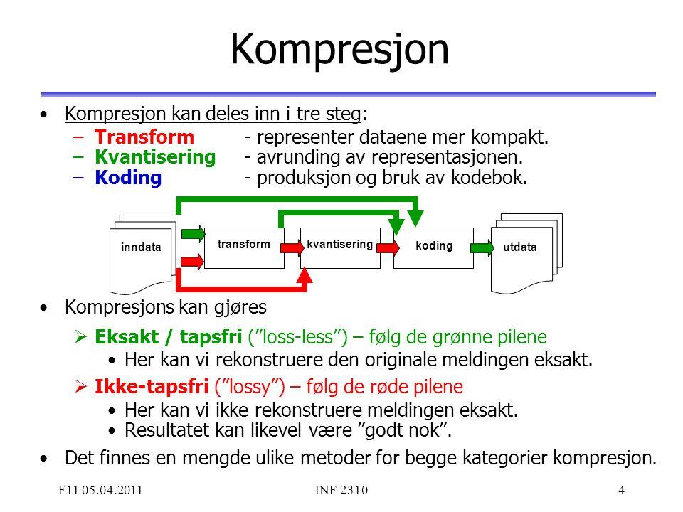 F11 05.04.2011INF 23104 Kompresjon Kompresjon kan deles inn i tre steg: –Transform - representer dataene mer kompakt. –Kvantisering - avrunding av rep